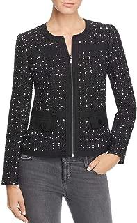Karl Lagerfeld Womens Tweed Business Collarless Blazer
