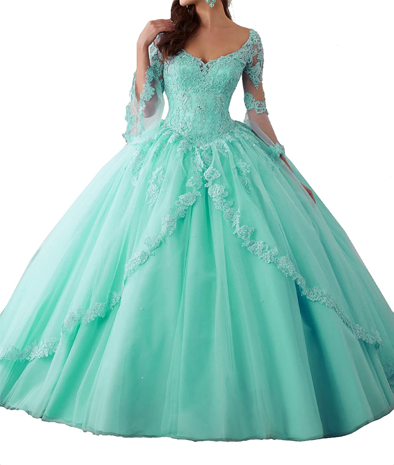 TuanYuan Women Lace Long Sleeves Girls Quinceanera Dresses VNeck Ball Gowns