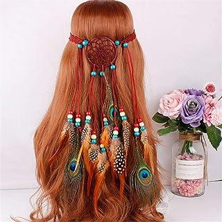 Cinta para el pelo de mujer de Glittfas, con borlas y plumas, estilo hippie bohemio, con perlas de madera