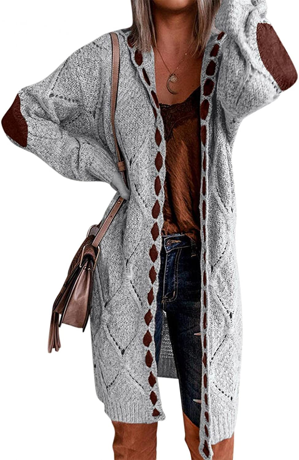 Misaky Womens Oversized Cardigan Sweaters Batwing Long Sleeve Open Front Knit Sweaters Coat Pockets