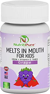 Kids Chewable Iron Supplement (Ferronyl®/Carbonyl Iron 9 mg with Vitamin C 30 mg) Tablet in Delicious Grape Flavor 90 Coun...