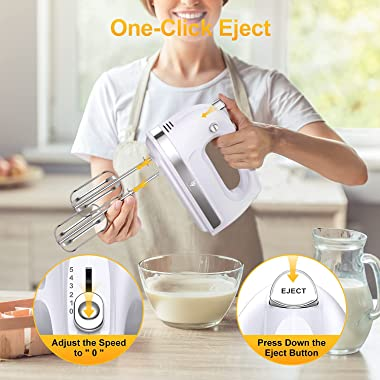 Hand Mixer Electric, 400W Ultra Power Kitchen Mixer Handheld Mixer With 2x5 Speed (Turbo Boost & Automatic Speed) + Stora