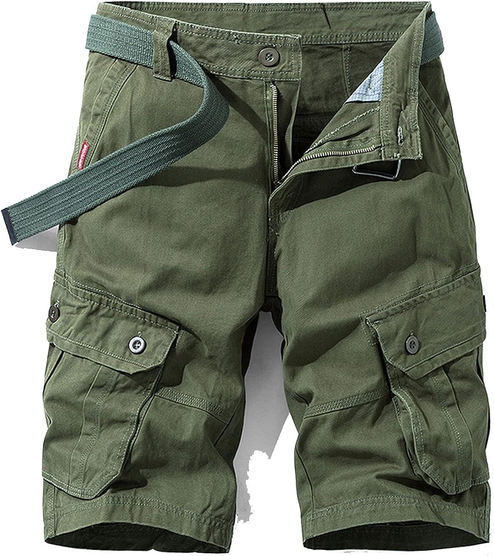 XiAn Men Summer Cotton Cargo Shorts Khaki Multi-Pocket Casual Short Pants Loose Military-Army Green-34