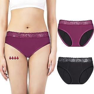 Rovtop Culotte Absorbante Menstruelle, Culotte anti-fuite Spéciale Pour Femme, Lot de 2, Lavable, Taille M