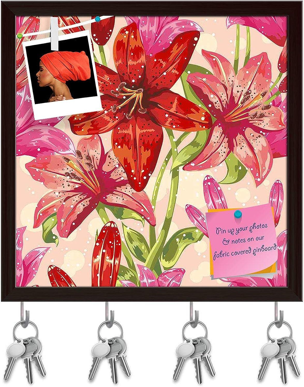 Artzfolio Dots & Leaves Key Holder Hooks   Notice Pin Board   Dark Brown Frame 20 X 20Inch