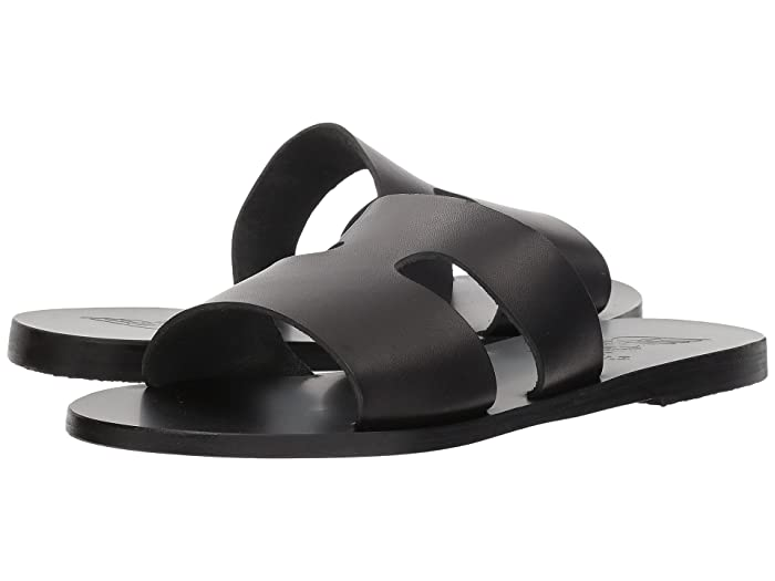 Ancient Greek Sandals  Apteros (Black Vachetta) Womens Sandals