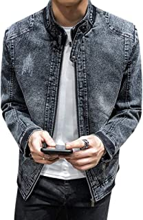 Mens Outwear Retro Thickened Plus Velvet Stand Collar Denim Jacket