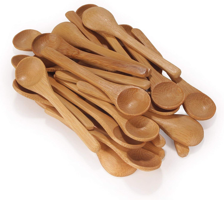 10 St/ück BambooMN Marke Gew/ürz-//Salz-//Zuckerl/öffel Schwarze 10,9 cm gro/ße ovale L/öffel aus massivem Bambus