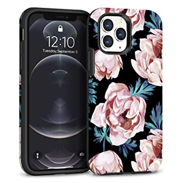Maxcury Case for iPhone 12 Pro Max, 6.7-Inch, Peony Flower Eternal Series Slim Full-Body Protective Case Anti-Drop Shockproof Cover for Girls and Women (Matte Peony)