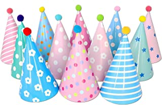 Beurio Kids Happy Birthday Paper Party Cone Hats with Pom Poms, 12ct