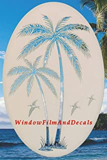 Leaning Palm Trees Oval Etched Window Decal Vinyl Glass Cling - 15