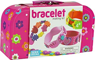 Serabeena Design Your Own Bracelets Kit for Girls. Fun, Creative Fashion with 10 Bands, 40 Flower Beads, Stickers, Velcro Fasteners, Silver Glitter Pen in Sturdy Suitcase