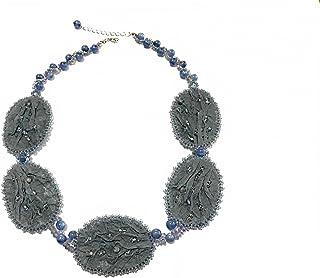 【ネックレス】【完成品】パーティー 刺繍 ブルー 天然石 カイヤナイト 和紙