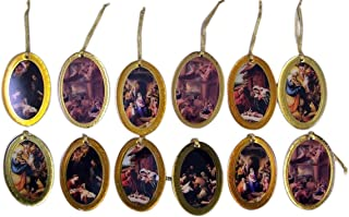 Assorted Holy Family Nativity Scene Gold Bordered Epoxy Christmas Ornaments, Set of 12, 3 Inch (Oval)
