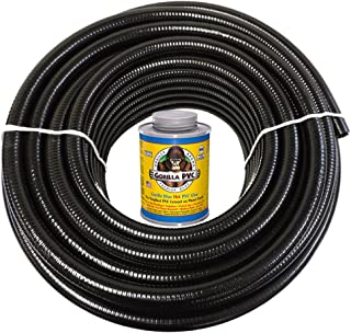 HydroMaxx 100 Feet x 2 Inch Black Flexible PVC Pipe, Hose and Tubing for Koi Ponds, Irrigation and Water Gardens. Includes Free can of 4oz Hot Blue PVC Gorilla Glue!