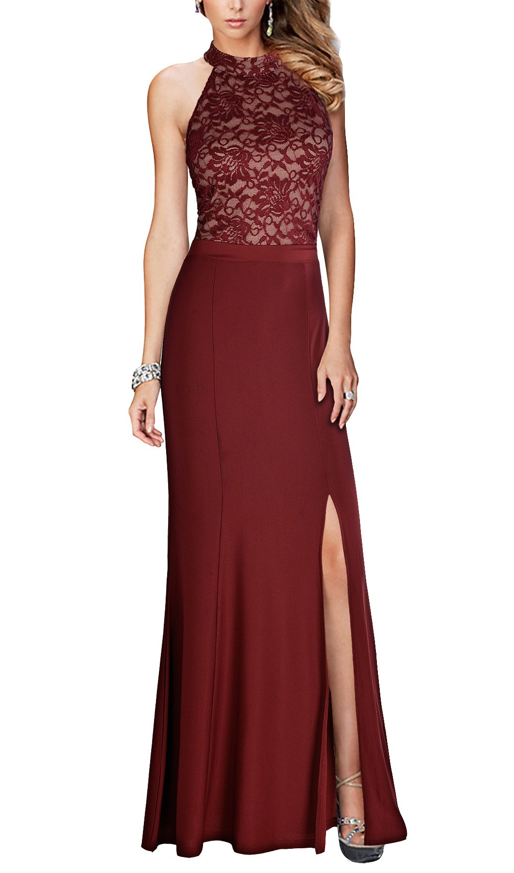 Prom Dresses - Women's Casual Deep- V Neck Sleeveless Vintage Wedding Maxi Dress