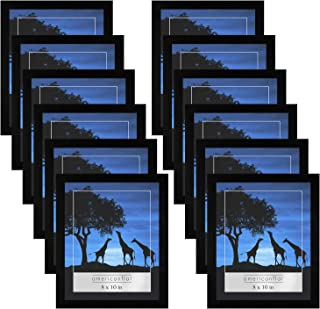 Americanflat 12 Pack - 8x10 Picture Frames - Display Pictures 8x10 Inches - Easel Backs - Built-in Hangers - Plexiglass Fronts