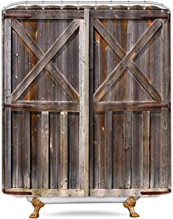 Riyidecor Wooden Barn Door Shower Curtain 72x96 Inch Farmhouse Western Country Rustic Brown Vintage Gate Fabric Polyester Waterproof Bathroom Home Decor Set 12 Pack Plastic Hooks