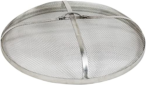 Sunnydaze Fire Pit Spark Screen Cover - Round Outdoor Heavy Duty Metal Firepit Lid Protector - Rust Resistant Stainless Steel Replacement Accessory - 24 Inch