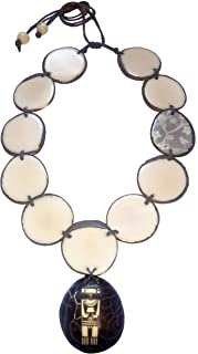 Indigenous Engraved Ivory Palm (tagua Seed) Necklace Handmade in Colombia undyed Vegan Cruelty Free (Back to Your Roots)