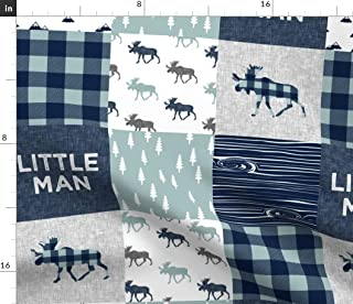 Spoonflower Fabric - Little Man Patchwork Navy