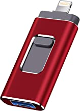USB Flash Drive Photo Stick 256GB for iPhone, iPhone External Memory for iPhone, Android, PC Photos and Mobile Phone and Computer Compatible 3.0 Flash Drive (red -256GB)