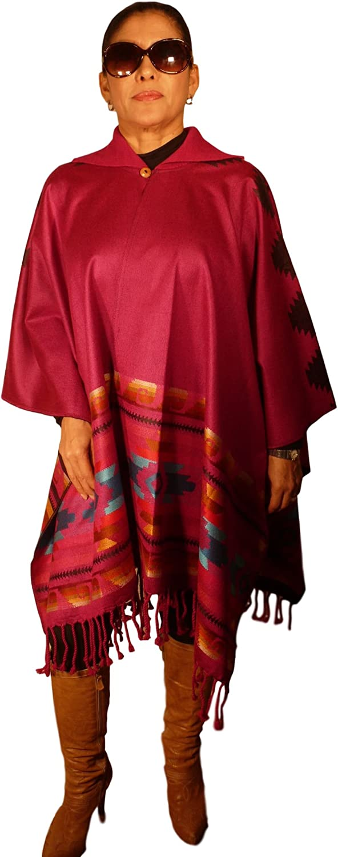 Women Shawl Navajo Serape Wrap Cape with knitted collar 30% AlpacaFUCSHIAWHITEYELLOW