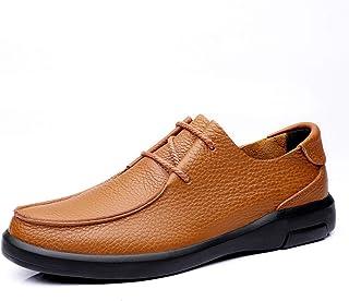 Zapatos casuales Zapatos planos de los hombres, delantal de encaje de patrón de cuero de los hombres, dedo redondo Color S...