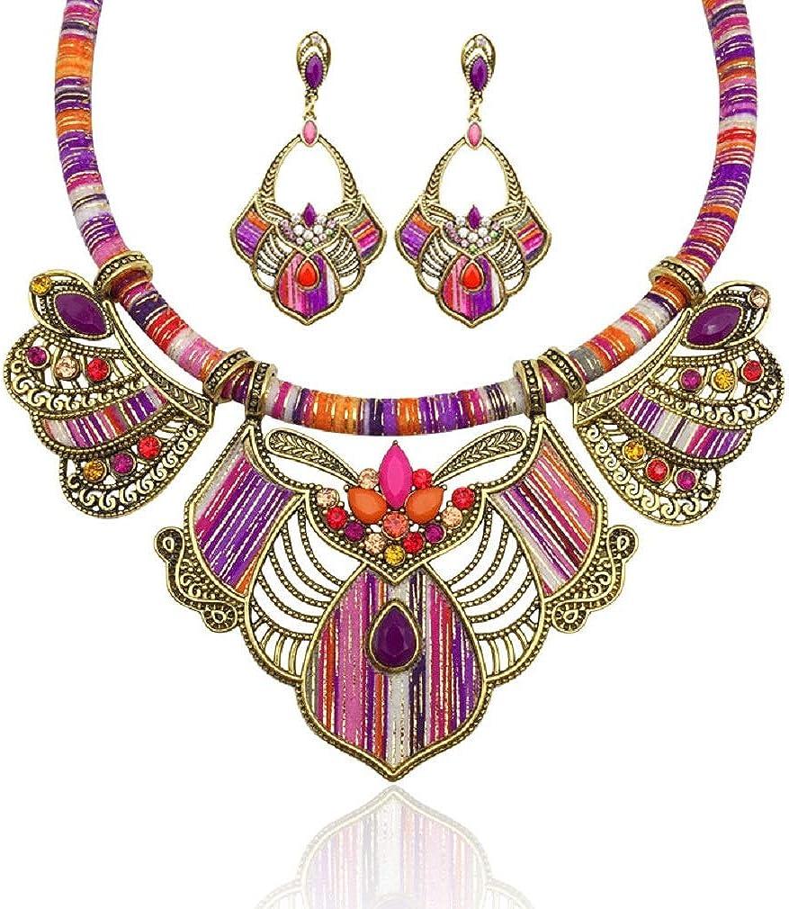 YAZILIND Chunky Necklace Earrings Women's Bohemian Chain Tribal Jewelry Set Handmade Geometric Charm Bib Choker Necklaces