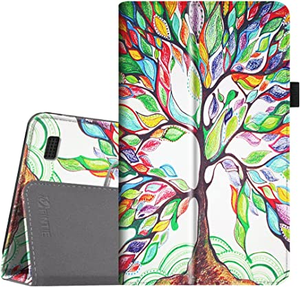 Fintie Folio Case for All-New Amazon Fire 7 Tablet (7th Generation, 2017 Release) - Slim Fit PU Leather Standing Protective Cover Auto Wake/Sleep, Compatible with Fire 7 (5th Gen, 2015), Love Tree