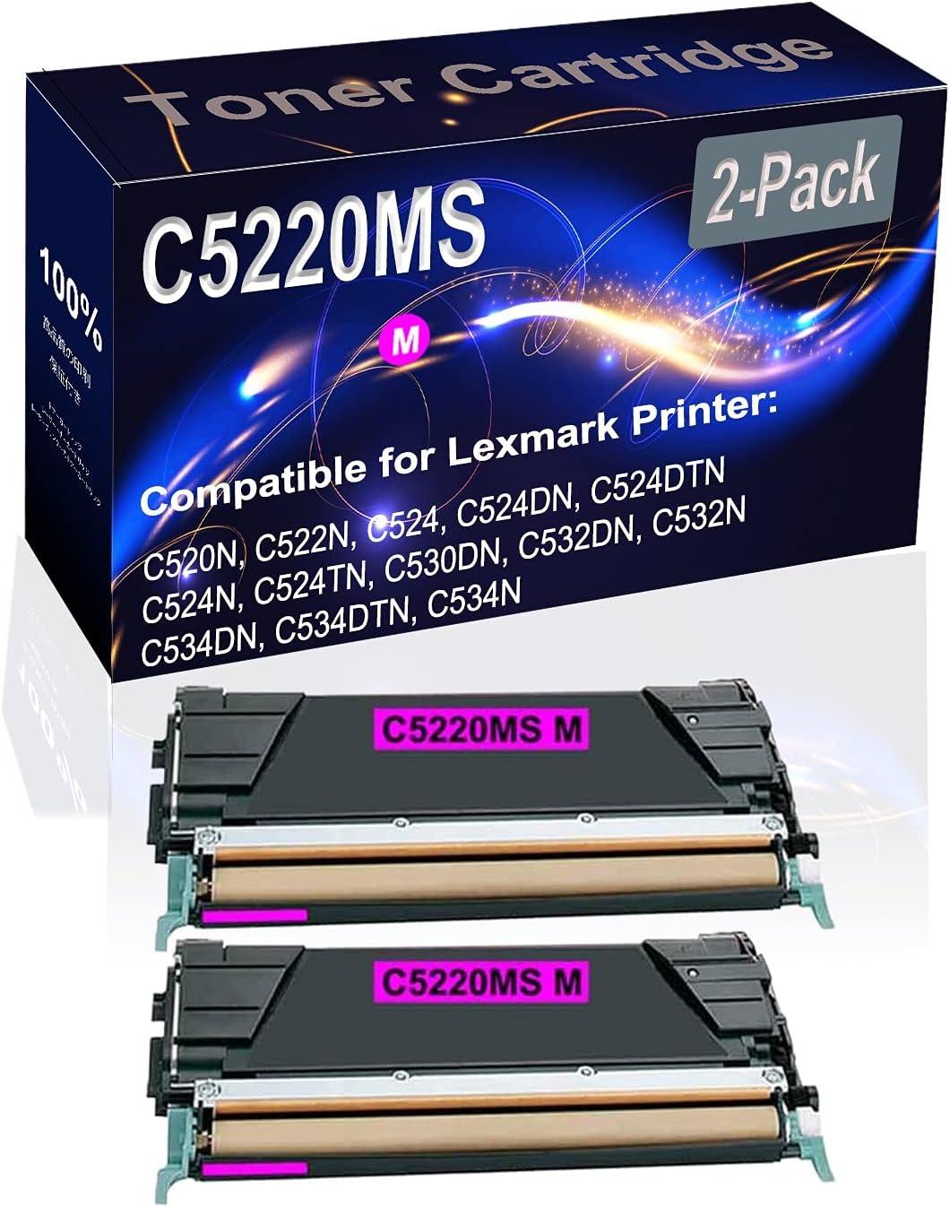 2-Pack (Magenta) Compatible High Yield C5220MS Printer Toner Cartridge use for Lexmark C520N C522N C524 C524DN Printers