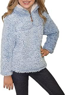 Girls Kids 1/4 Zip Pebble Pile Sherpa Fleece Pullover Jacket Tops