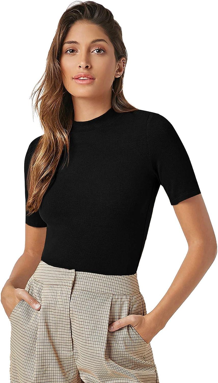 Verdusa Women's Casual Basic Mock Neck Short Sleeve Rib Knit Tee Top
