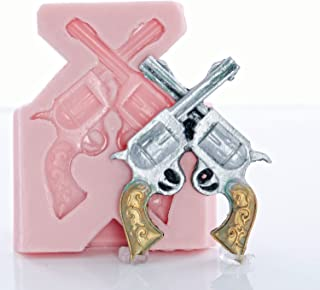 Crossed Pistol Silicone Mold Easy to use with Fondant, Chocolate, Candy, Resin, Metal Clay, Polymer Clay.