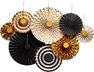 THEC Paper Fans Decoration,Black-Gold Party Decorations Hanging Ornaments for Wedding Birthday Party Accessories Set of 8