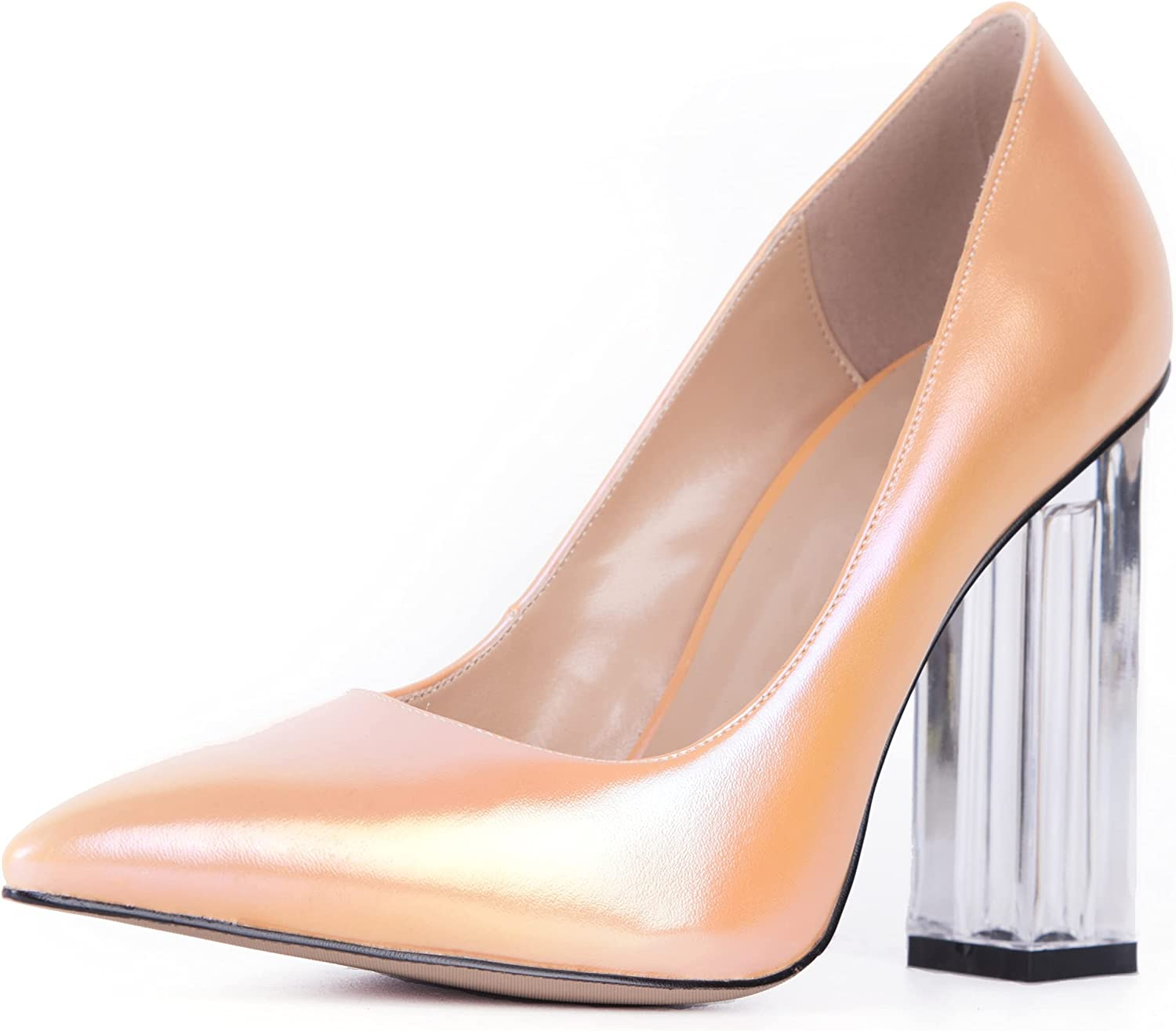 SOPHITINA New product!! Transparent Square Block Heels Pointed for Sexy Women Max 87% OFF