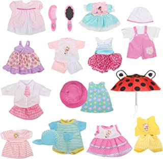 Huang Cheng Toys Set of 12 Handmade Lovely Baby Doll Clothes Dress Outfits Costumes For 14-15-16 Inch Dolly Pretty Doll Cl...