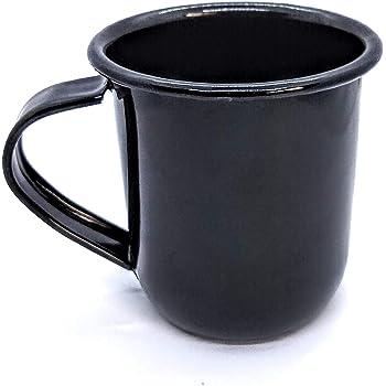 Black Enamel Coffee Mug by Ana´s Home Premium Selection -16 Ounce (473ML) - camping mug -16 oz coffee cup - metal coffee cups - camping mugs coffee - tin camping mugs - vintage coffee cup - coffee