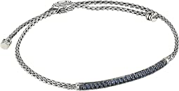 Classic Chain 2.5 mm. Mini Chain Pull Through Bracelet with Blue Sapphire