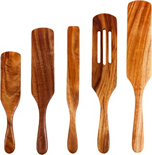 EOPER Wooden Spatula Scraper Set with Long Handle 5 Pieces Heat Resistant Wooden Cooking Utensils Slotted Spatula Shovel W...