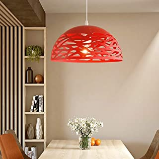 Modeen Modern Simple Iron Metal Pendant Light Industrial Retro Creative Hollow Lampshade Restaurant Bar Kitchen Barn E27 Decoration Adjustable Ceiling Lamp Chandelier (Color : Red)