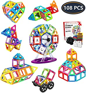 Jasonwell 108pcs Magnetic Tiles Building Blocks Set, Preschool Educational Construction Kit DIY Creative 3D Magnetic Toys ...