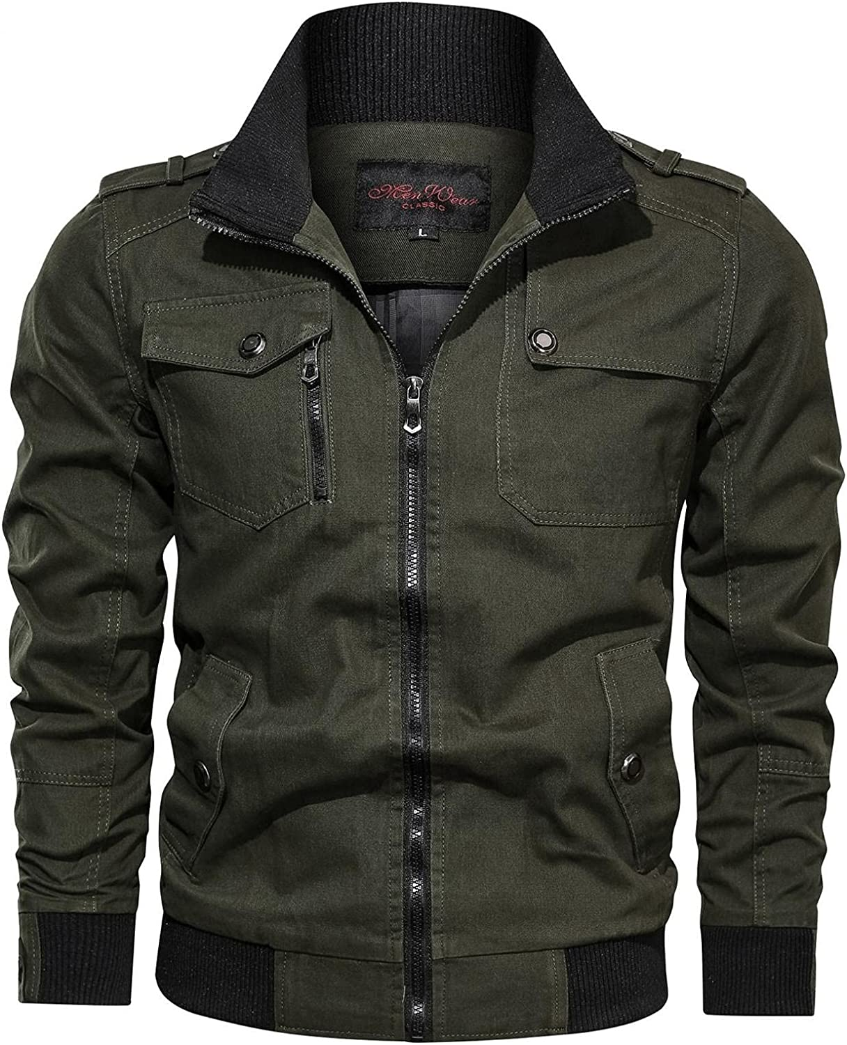 Mens Military Jackets Casual Cotton Solid Coat Zipper Up Lightweight Long Sleeve Windbreaker Outwear Spring