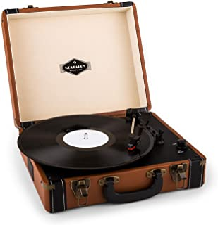 auna Jerry Lee • Record Player • Retro Design • Turntable • Phonograph • Belt-Drive • Stereo Speaker • USB-Port • Vinyl LP • Carrying Strap • Digitization • Plug & Play • Portable Suitcase • Brown