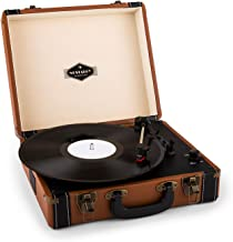 Auna Jerry Lee Giradischi a cinghia  con altoparlanti stereo e USB, 3 velocità, 33/45/78 giri / min e Funzione di avvio automatico, Marrone