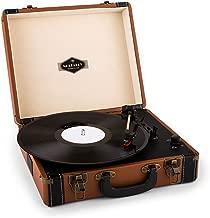auna Jerry Lee - Giradischi, lettore di dischi, unità a cinghia, altoparlanti stereo, USB, 3 velocità, 33/45/78 giri / min., 3 dimensioni di dischi, Funzione di avvio automatico, marrone