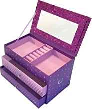 Jewelry Box for Girls - Pink and Purple Sparkles with Hearts and Pink and Purple Trim (Purple Sparkle)