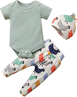 Marryself Baby Kleidung Set Kleidung Strampler  Cartoon Tier Küken Print Hose  Hut Anzug Reine Farbe Strampler  Nicht positionierte Bedruckte Hose für 0-18 Monate Mädchen