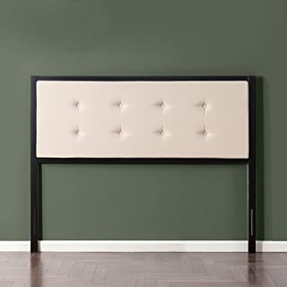 Zinus Barbara Button Tufted Taupe Upholstered Metal Headboard, Queen