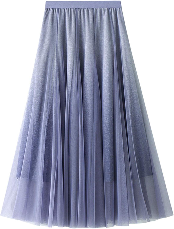 Women Long Tulle Skirt Tulle Fairy Skirt Gradient Color Pleated Maxi Chiffon Petticoat High Elastic Waist Midi Skirt